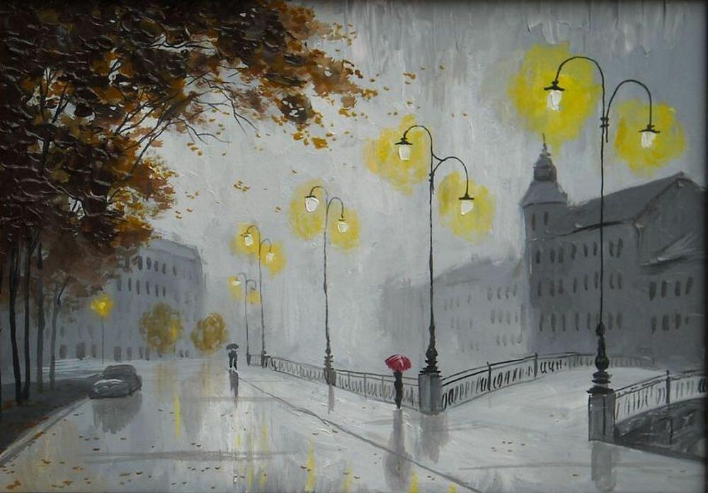 Рисунок дождь и фонарь