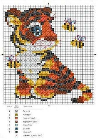 Отличная схемка - подарок на новый год.  2010 год - год тигра.  Тигренок.