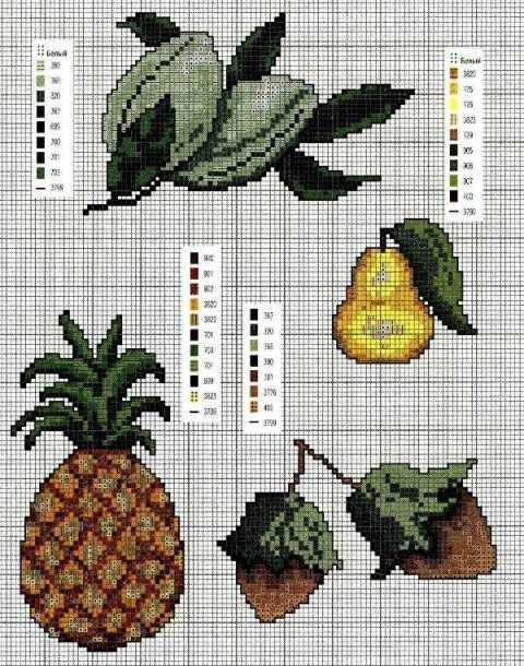 Схемы вышивки крестом кухонных принадлежностей.  Вышивка цветов.