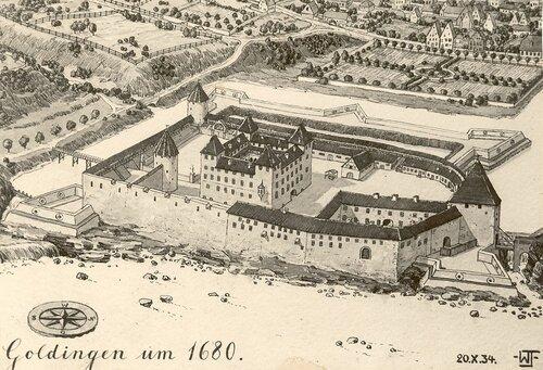 Облик замка 1680 г. по реконструкции В.Фромхолда-Трейя 1934 г.