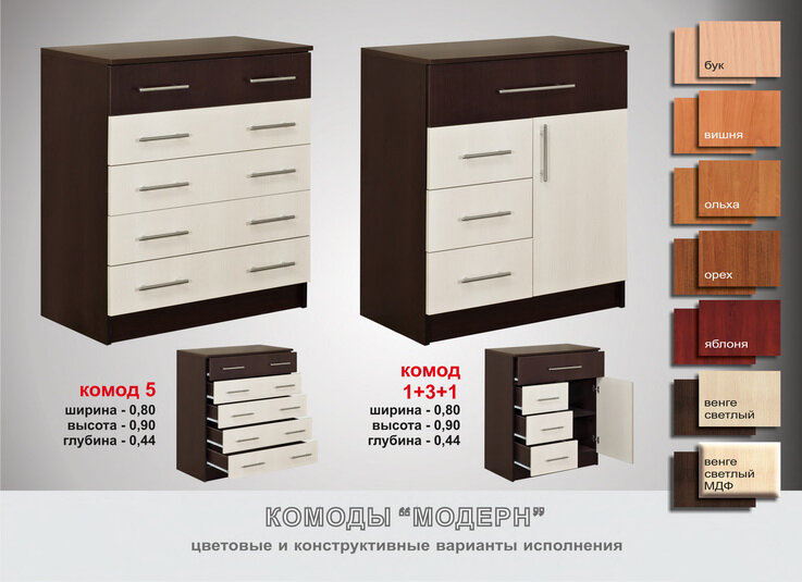 Комоды.  Описание товара: Стоимость комода 5-680грн(с фасадами мдф-830грн),комод 1+3+1-780грн(с фасадами мдф-970грн).