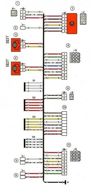 Схема электрических соединений жгута проводов боковых дверей автомобилей LADA 2114, 2115.