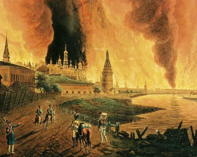Пожар в Москве в сентябре 1812 г. (Шмидт с оригинала Х.И.Олендорфа).
