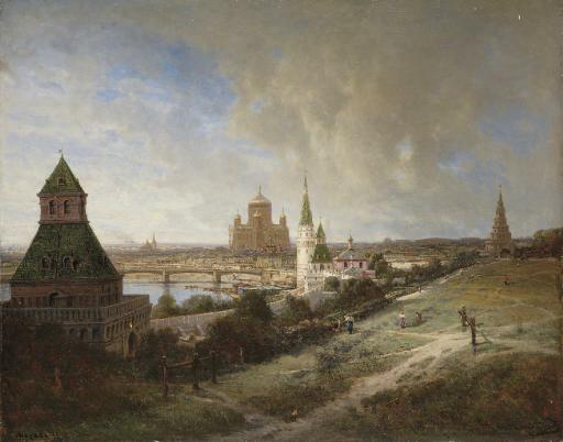 Алексей Петрович Боголюбов (1824-1896). Вид на Храм Христа Спасителя из Кремля.