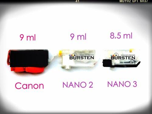 Сколько чернил вмещается в оригинальные картриджи и в НАНО-картриджи разных поколений
