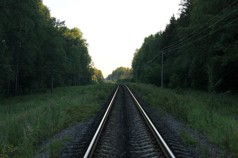 Единственная кривая перегон Рождествено - Ржев-Балтийский, вид на Ржев