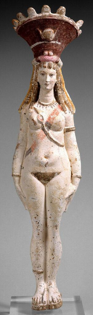 Painted terracotta figure of Isis-Aphrodite - Roman Egypt, 2nd century CE.jpg