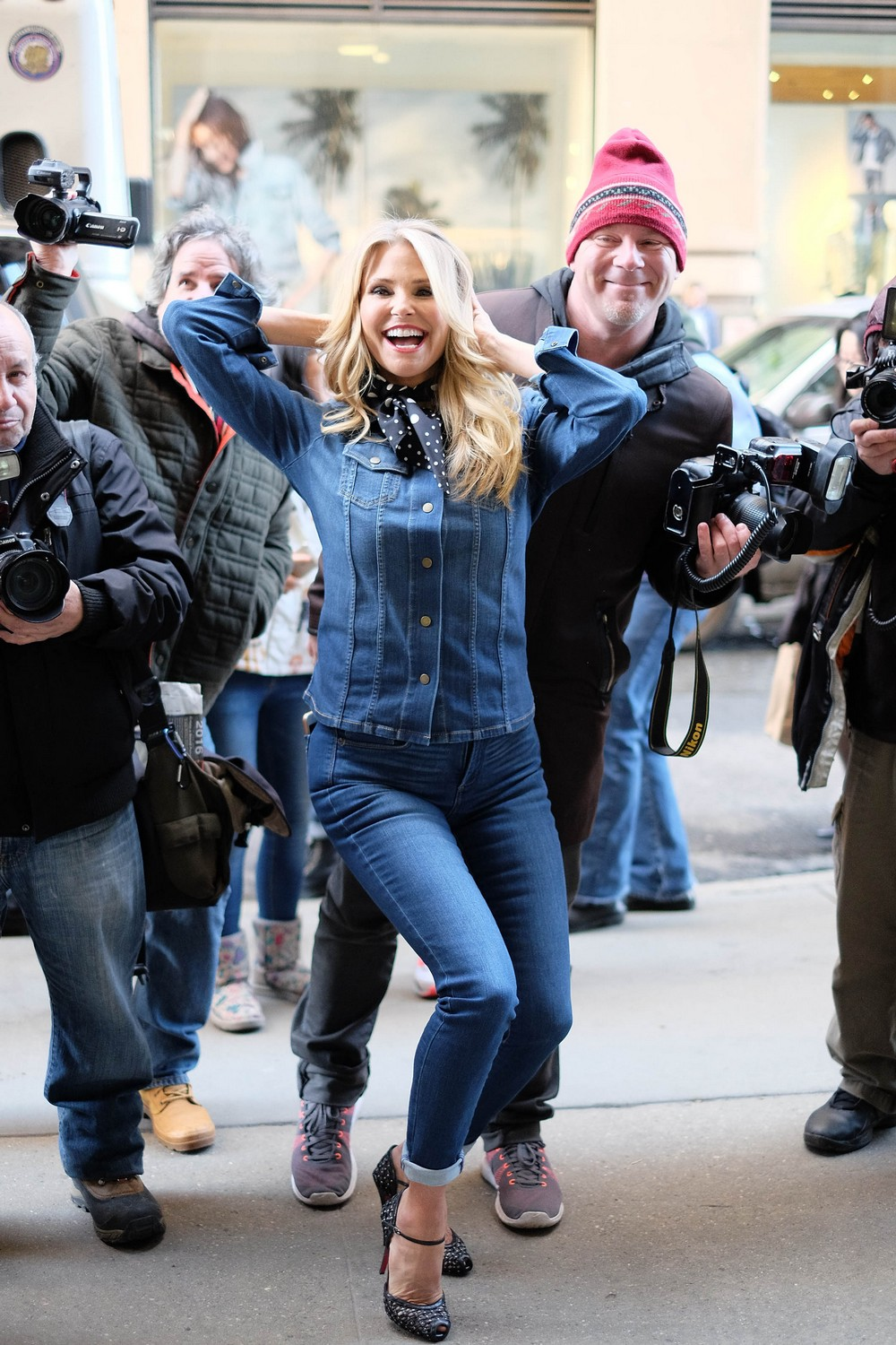 Christie Brinkley leaving the Huffington Post