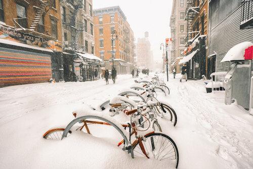 Снегопад в Нью-Йорке