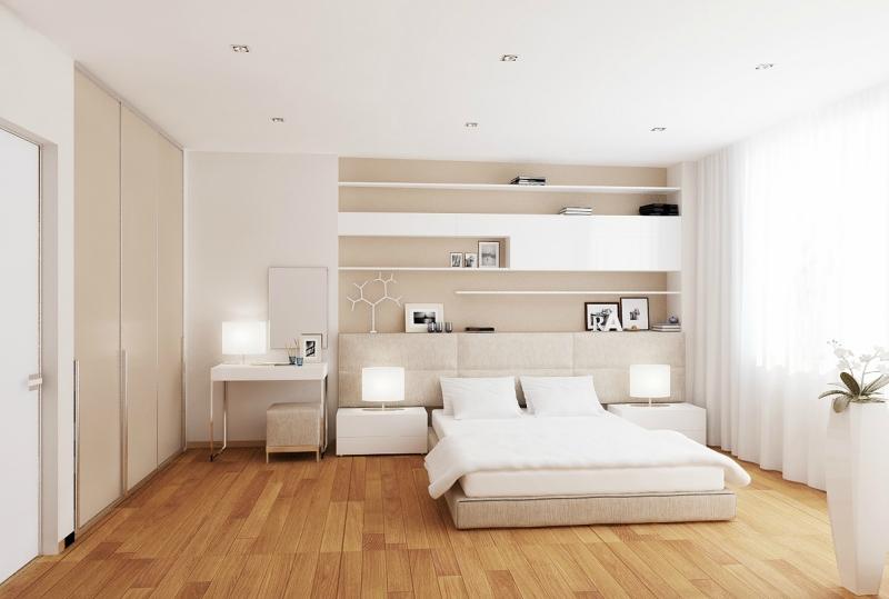 Дизайн интерьера спальни в светлых оттенках фото 5