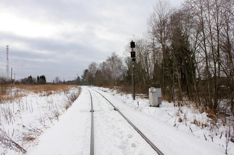 Входной светофор Н станции Белый городок со стороны Калязина