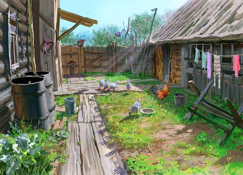 Обустройство двора дома в деревне своими руками  708