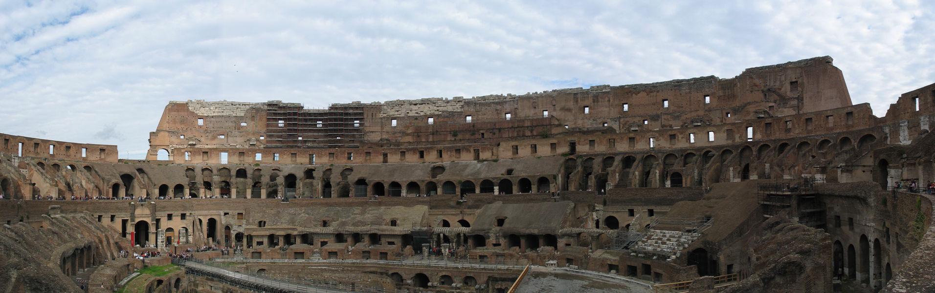 Rome, Italy's Colosseum interior panorama