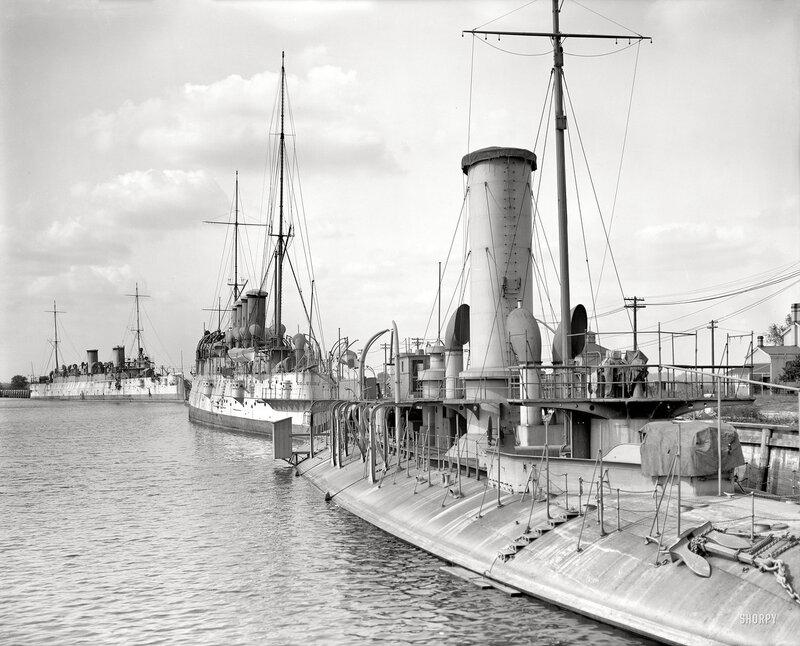 "Philadelphia circa 1908. ""Ships at League Island Navy Yard. Cruisers Minneapolis and Columbia (center) and armored ram Katahdin."""