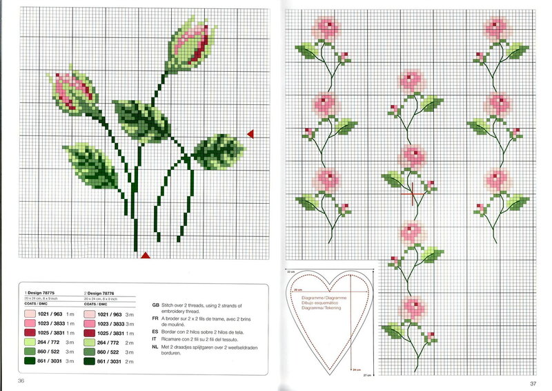 Вышивка крестом роза простая схема 28