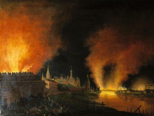 Х. И. Олендорф (1772-1844) Пожар Москвы в 1812 году (Der Brand von Moskau) Исторический музей, Берлин.