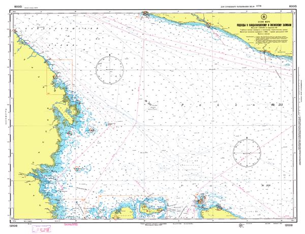 Подходы к Кандалкшскому и Онежскому заливам - морские навигационные карты на lenv.ru
