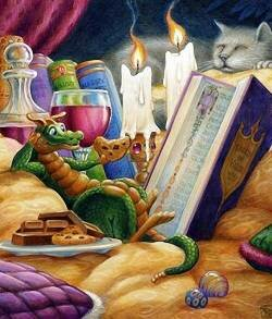 Дракончик с книгой и печенькой