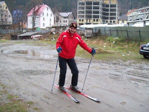 на лыжах по земле открытки фото голубой
