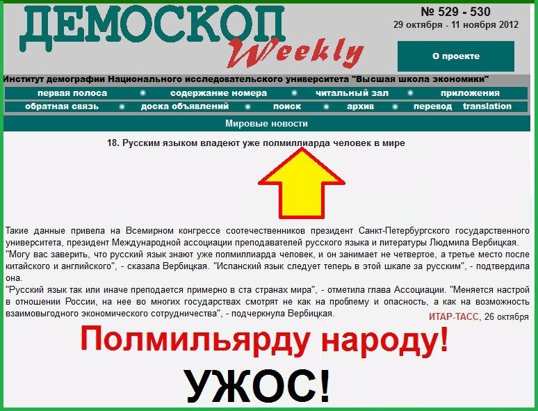 Демоскоп, ИТАР, Русский язык, Вербицкая