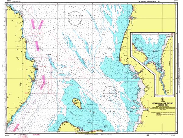 Северные подходы к горлу Белого моря и Мезенский залив - морские навигационные карты