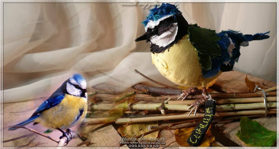 птички из ткани, текстильные птички. синица