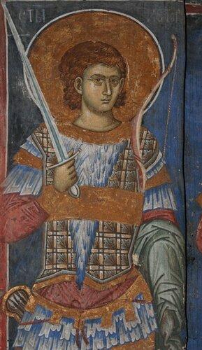 Святой мученик Нестор Солунский. Около 1350 года. Собор Христа Пантократора в монастыре Дечаны.