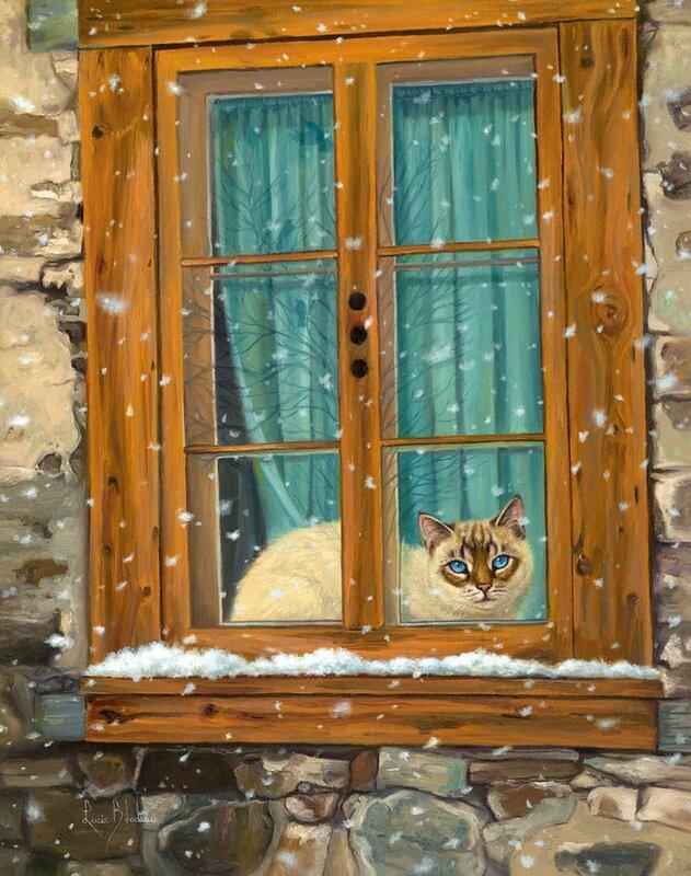 Кошачий март уж за окном, весна по улицам шагает... Художник Lucie Bilodeau
