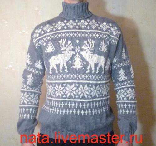 Вязание мужского свитера с оленями 463
