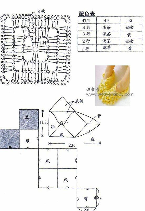 Схема вязания носков из квадратов 49