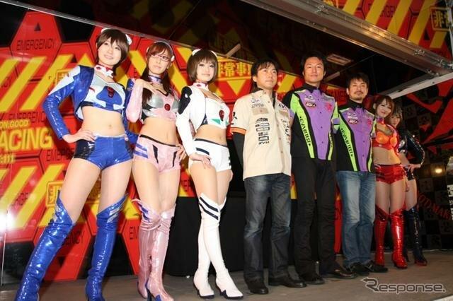 японки, Neon Genesis Evangelion, Ева на трассе, японские гонки, Аска Лэнгли, Синдзи Икари, Макинами Мари, Рэй Аянами, азиатки