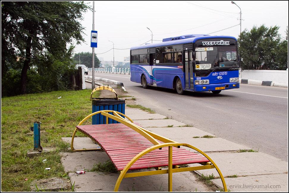 Остановка автобуса в Уссурийске