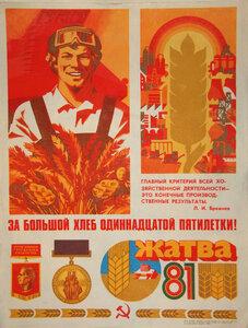 За большой хлеб 11 пятилетки!  Плакат. СССР.