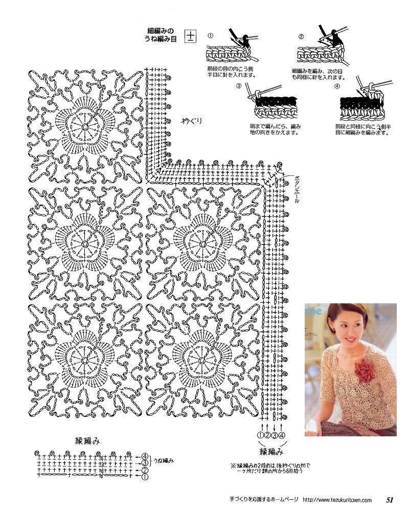 Вязание летней кофточки из мотивов крючком схемы