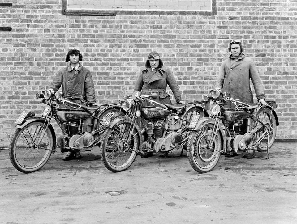 Motorcyclists and Raleigh motorcycles, ca. 1920s, photo by Frank Denton.jpg