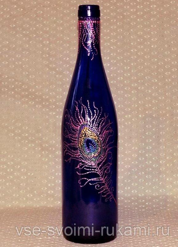 Роспись на бутылках своими руками