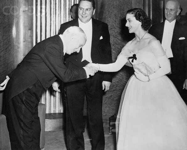 Charlie Chaplin Greeting Princess Margaret