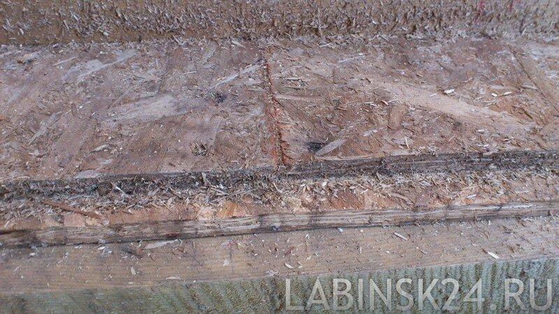 Пол из OSB, разбухшие стыки, расслоение от дождя