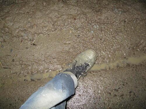 Фото 18. Обувь испачкана глиняной жижей.