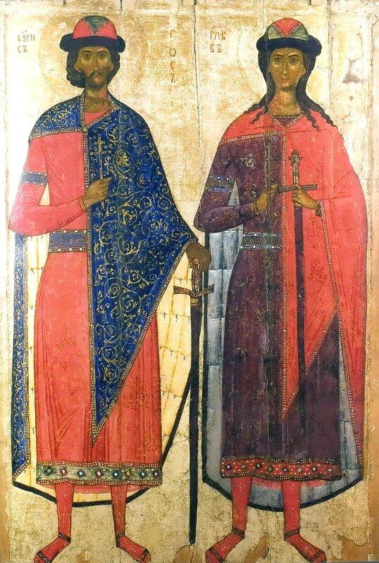 Святые Благоверные Князья Борис и Глеб. Икона середины XIV века.