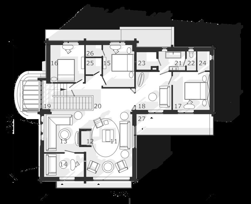 План второго этажа. Гостиная с камином и с системой домашнего кинотеатра, с выходом на просторный балкон, кабинет с выходом на балкон. Родительская и две гостевые спальни. Сауна, ванная комната с зенитным фонарем в кровле.