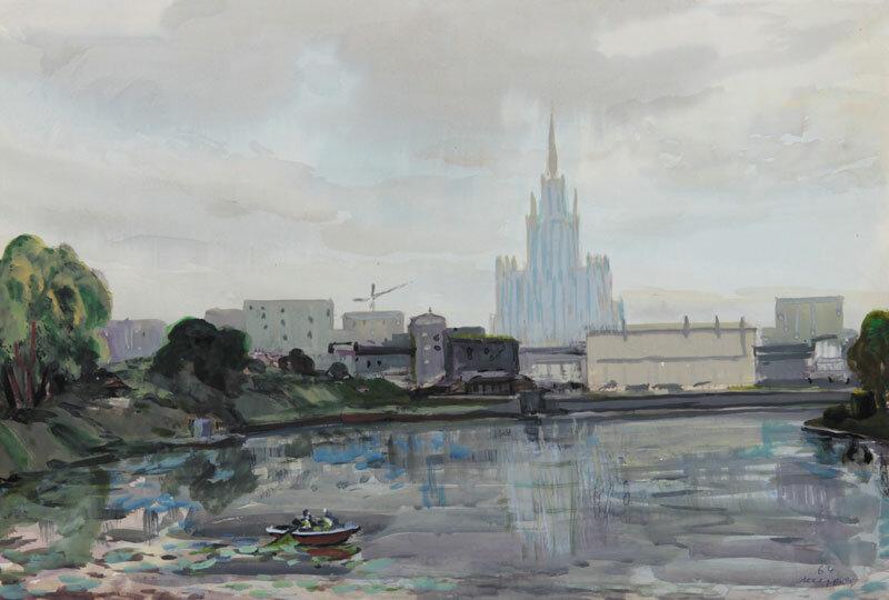 Месропян Б. А. Вид на здание МГУ, 60-е.