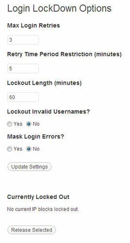 Настройки Login LockDown