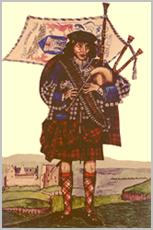 На гравюре - Патрик МакКриммон, одетый в ливрею МакЛаудов, около 1715 года