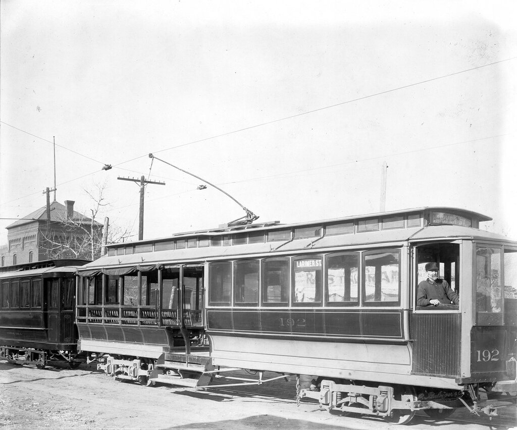 Denver Tramway Company trolley Larimer St. number 192 in Denver, Colorado. Funeral Car A. is attached to the back, between 1900 and 1905