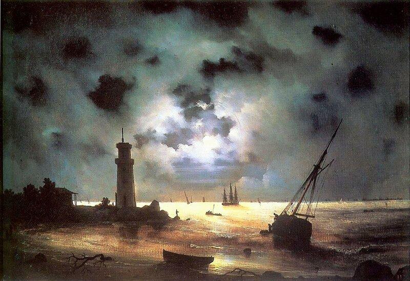 Айвазовский . Берег моря ночью.jpg