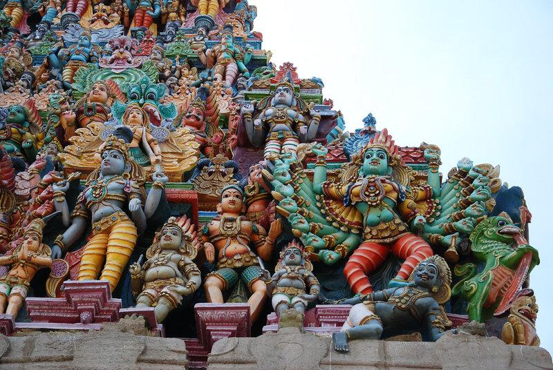Фрагмент стены Минакши Сундарешвара