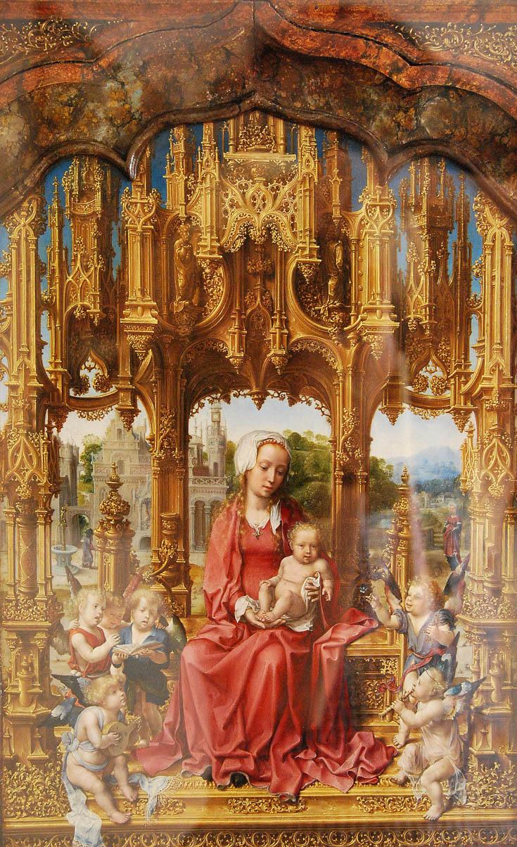 Ян Госсарт. Мадонна с младенцем и ангелами