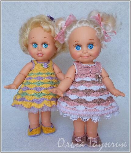 Схемы филейного вязания кукольного платья