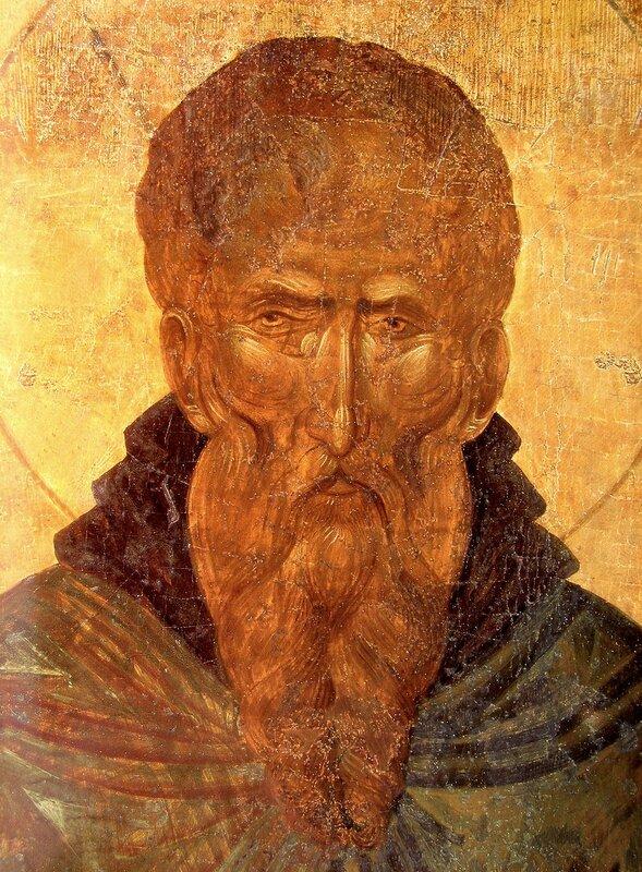 Святой Преподобный Афанасий Афонский. Икона. Византия, 1363 год. Монастырь Пантократора на Святой Горе Афон. Лик.